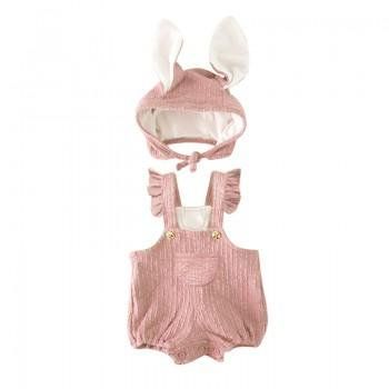 Rompers Easter Bunny Hat and Ruffled Overall Set for Baby and Toddler Girls and Boys