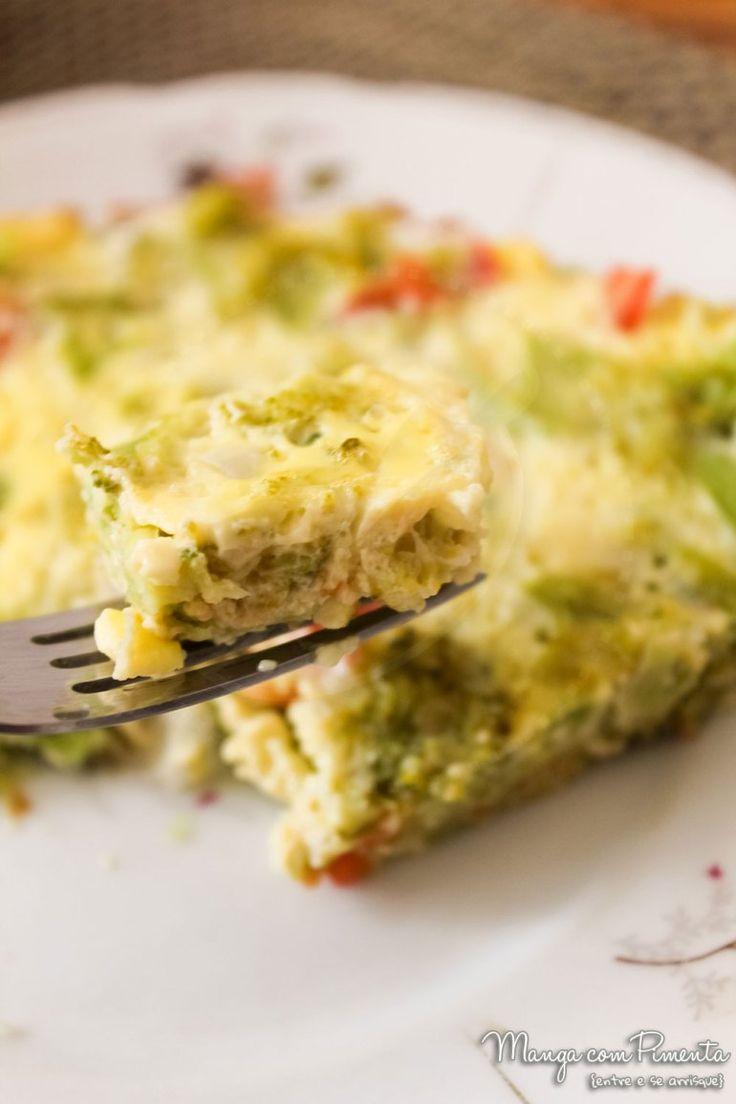 Omelete de Forno Recheado com Brócolis e Tomate, para ver a receita, clique na imagem para ir ao Manga com Pimenta.