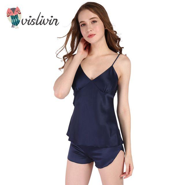 Vislivin сексуальное Женская Одежда на Лето Шорты Устанавливает V-образным Вырезом Пижамы Атласные Пижамы женские Домашней Одежды ночная рубашка (20% discount)
