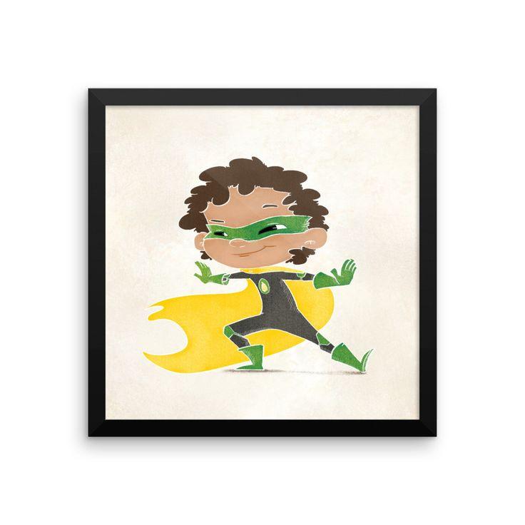Superhero Framed Nursery Print – Green Flash Boy