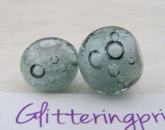 Glass Lampwork Beads Light Steel Grey Bubbles for Jewellery / Jewelery making by GlitteringprizeGlass