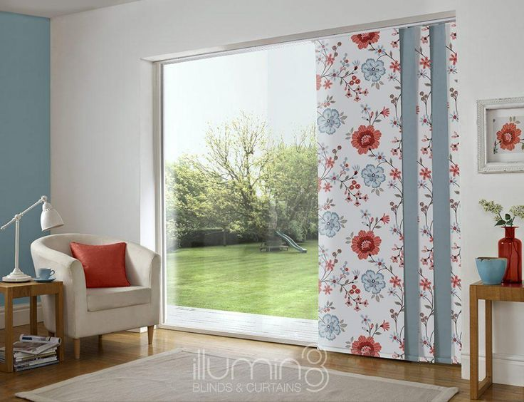 Panel blind is the most innovative shading solution for larger windows and patio doors. This blind also looks stunning as a stylish room divider. Here in blue colour with pattern. Illumin8 panel blind is available in a diverse range of designs and fabrics including, sheer voiles and faux suede, all of which will enhance the decor of any room.