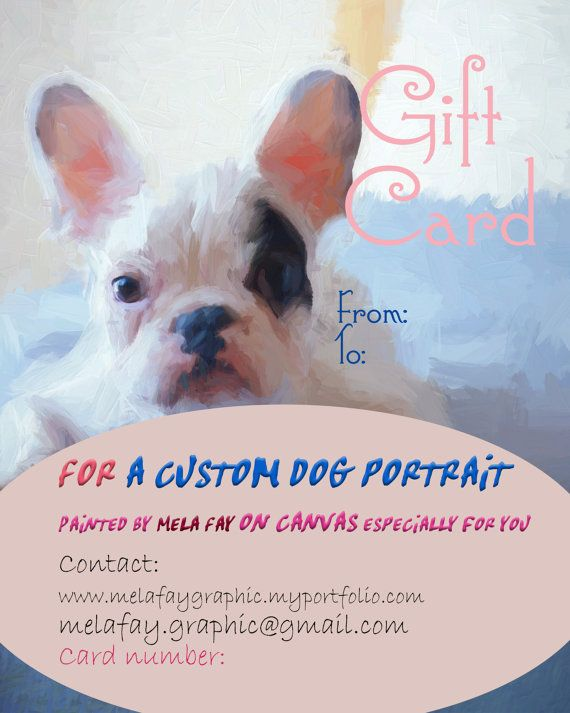 Cusom dog portrait Gift Card Classic dog by MelaCustomPortraits