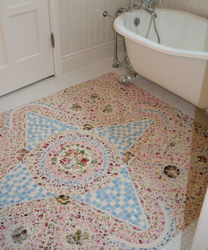 Ever broken a plate? Apparently so have Katherine Jurys Krug from the Dove Studio. She put the pieces together creating a mosaic bathroom floor