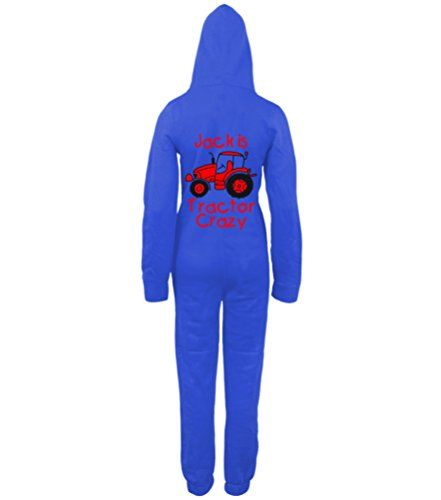 PERSONALISED TRACTOR CRAZY (DESIGN 2)' with NAME Royal Blue Onesie with Black & Red print.
