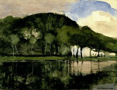 Piet Mondrian - Along the Amsel, 1903 Mondrian didn't just do colored boxes, although I like those, too.