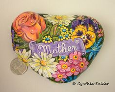Painted rock,Flower painted rock,Daisies,pansy,rose,Mother's Day,Mom gift,garden decor,flowers for mom,heart shape rock,springtime flowers