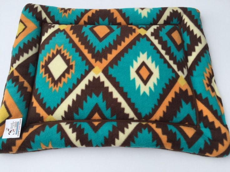 Southwestern Dog Bed, Small Crate Pad, Fleece Dog Bed, Puppy Bedding, Aztec Bedding, Blue Dog Bed, Western Decor, Cat Carrier Pad, Cat Bed by ComfyPetPads on Etsy