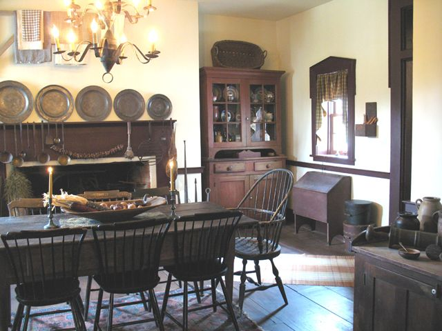 17 best images about colonial primitive interiors on for Primitive dining room ideas