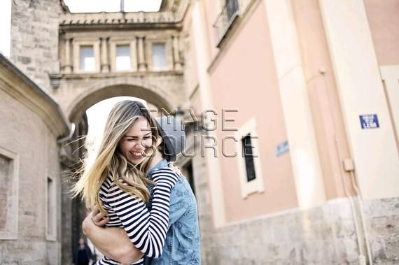 Romantic young couple hugging, Valencia, Spain