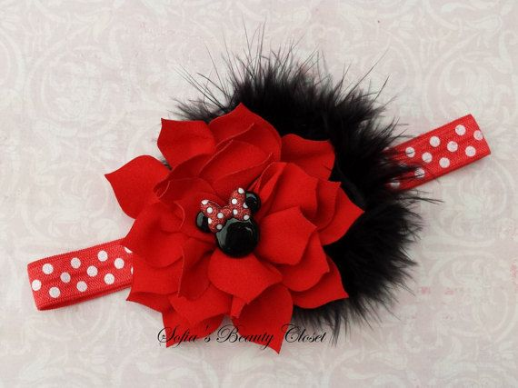 Minnie mouse headband. Red Black headband. by SofiasBeautyCloset