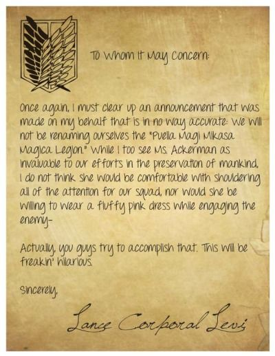 OMG, THIS IS HILARIOUS!!! Although, the first thing I noticed about this was... CORPORAL LEVI HAS SUCH NICE HANDWRITING!!!! ^-^