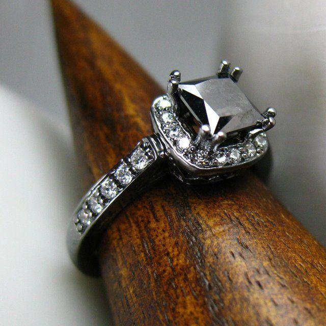 Black Gold Black Diamond Engagement Wedding Ring