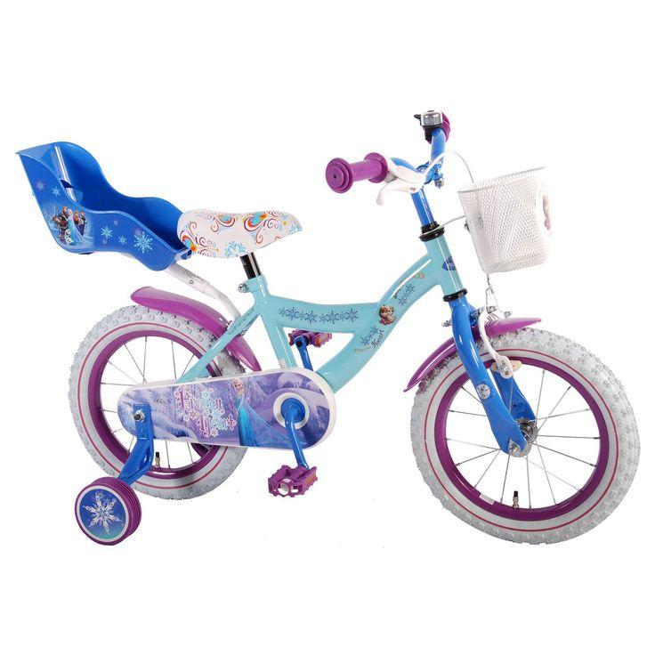 """Disney Kinderfiets Frozen 14"""" blauw/paars Blauw  Description: De Disney Frozen 14 inch blauw/paars met witte kleuraccenten is een mooie fiets voor meisjes in de leeftijdsklasse van 3 tot 5 jaar. De Frozen Strong Heart Strong Bond heeft een stalen oversized frame en zorgt dat de fiets stevig is en tegen een stootje kan. De terugtraprem in het achterwiel en de knijprem op het voorwiel zorgen ervoor dat je kind veilig kan remmen en tot stilstand kan komen. De zijwieltjes zorgen voor…"""