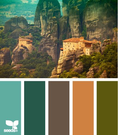 Mental Vacation Aqua, turquoise, browns, oranges, greens