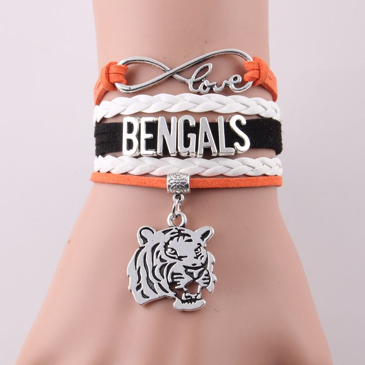 Little Minglou Infinity Love Bengals bracelet Football team Tiger Charm leather wrap men bracelet & bangles for women jewelry #Affiliate