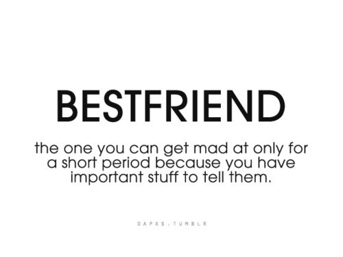 BestFriend the one you can get mad at only for a short period because you have important stuff to tell them.