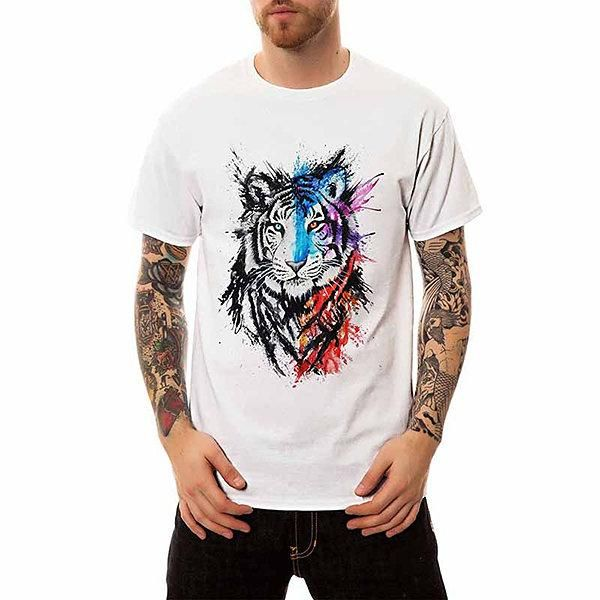 1109cb1b Summer 3D Tiger Printed Hip-Hop Casual T Shirt for Men in 2019 ...