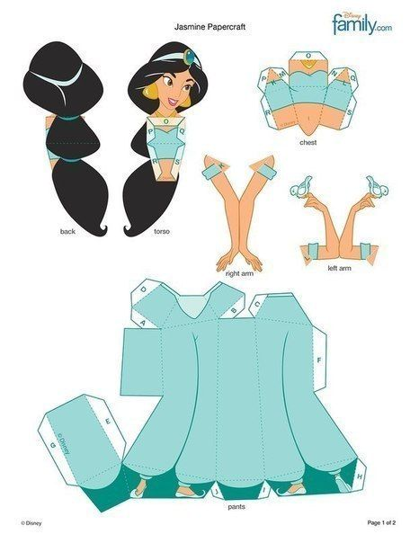 Paper Dolls Disney DIY Jasmine Papercraft All Pinterest And
