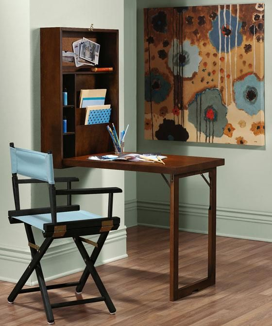 Try a murphy desk that can fold against the wall for a for Temporary furniture