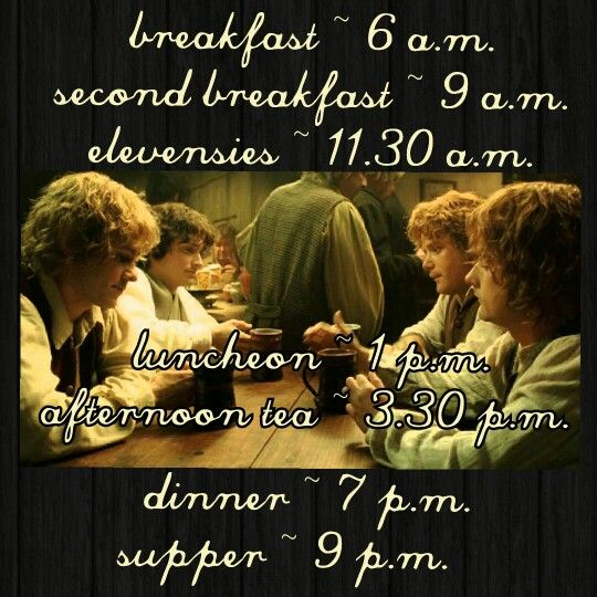 Hobbit Meal Schedule