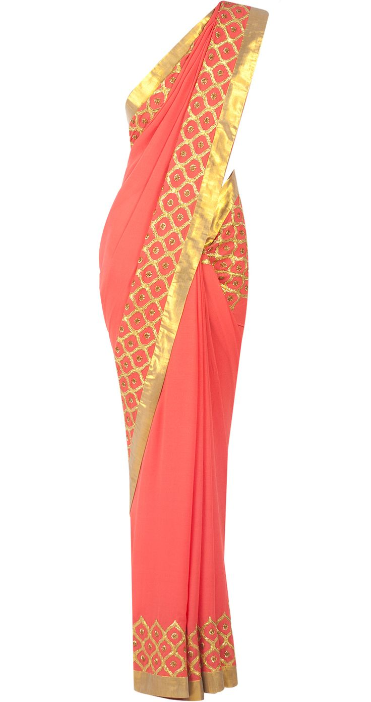 Embellished orange sari available only at Pernia's Pop-Up Shop.