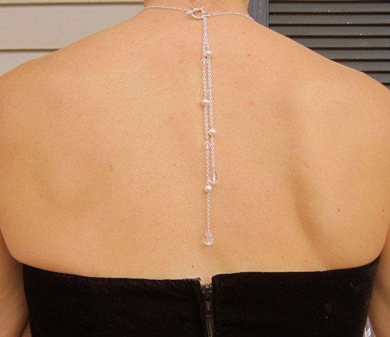 Zurück Drop Halskette Perle und Crystal von DeniseJewelryDesigns