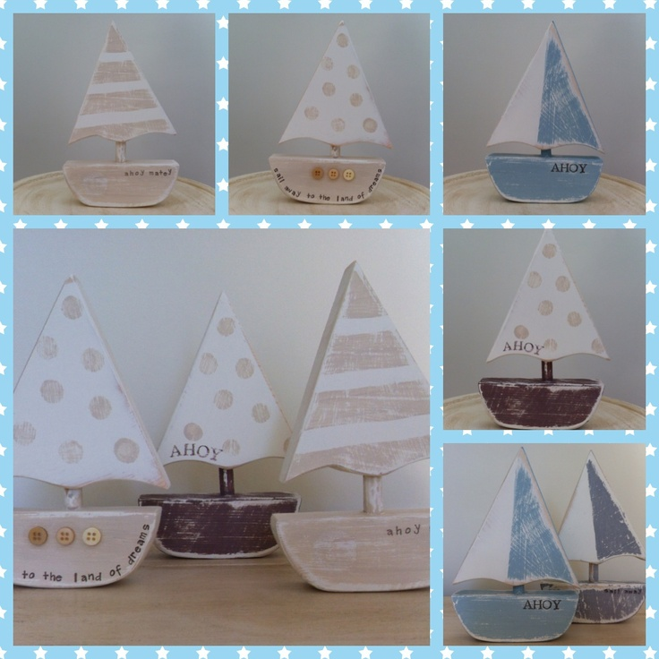 hand cut and painted little wooden sail boats