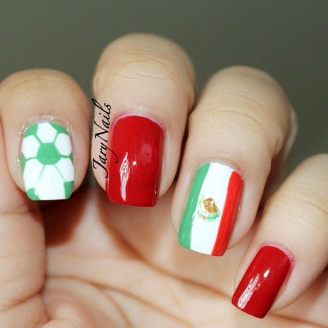 Mexico's Flag Soccer Nails World Cup 2014 By JaryNails. Used @essie Fishnet  Stocking and - Best 25+ Soccer Nails Ideas On Pinterest Sports Nail Art