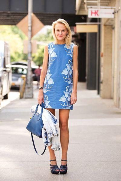 Blue print dress.