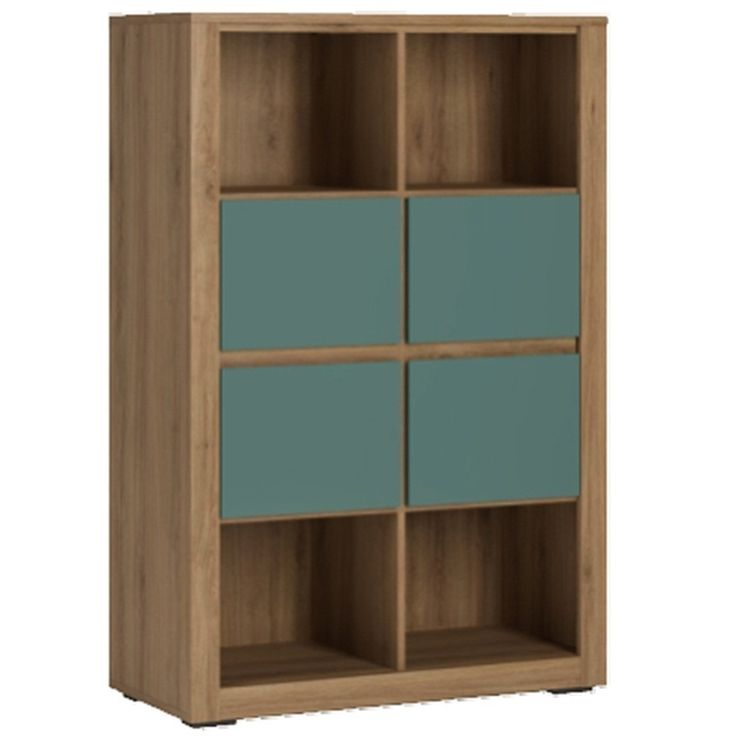 Hobby 4 Drawer Storage Unit Open Shelves In Oak Melamine / Turquoise - Whether used in the kids bedroom, living room or your own bedroom, the Hobby range offers from Furniture To Go offers you unlimited possibilities for storage and décor in some very funky and unique colour combinations.