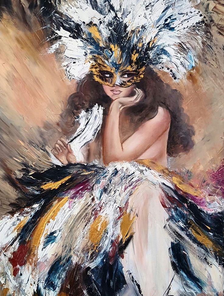 Maskeli Kız / Girl with Mask by Pelin Ağın | #oilpainting #yağlıboya #sanat #tablo #contemporaryart