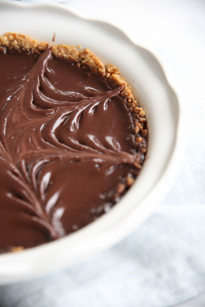 Easy chocolate pie recipe on a pretzel crust with just 5 ingredients!