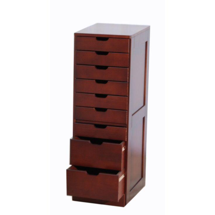 Furnituremaxx Cherry Finish 9 Drawers File Cabinet