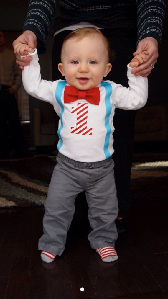 Boys First Birthday Outfit - Dr Seuss Cat in The Hat - Bow Tie Suspender - Carnival Birthday outfit - Blue Red - 1