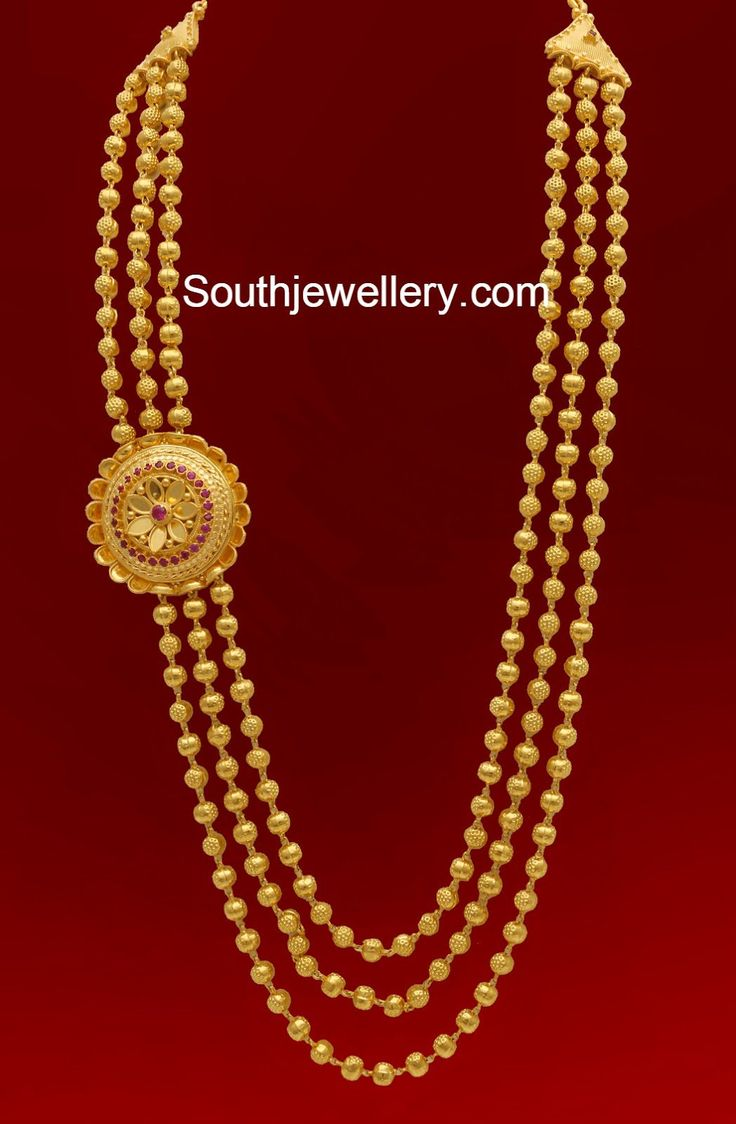 22 carat gold floral designer pendant with multiple beads chain and - Three Lines Gundla Mala With Side Pendant Jewellery Designs Find This Pin And More On Jewelry By Sirishay 22 Carat Gold