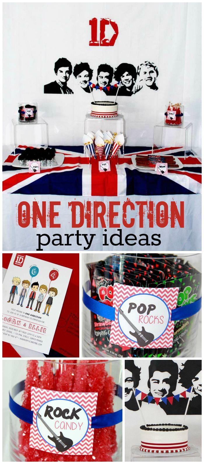 A One Direction birthday party for a boy and a girl with fun rockstar food ideas and decorations! See more party planning ideas at CatchMyParty.com!