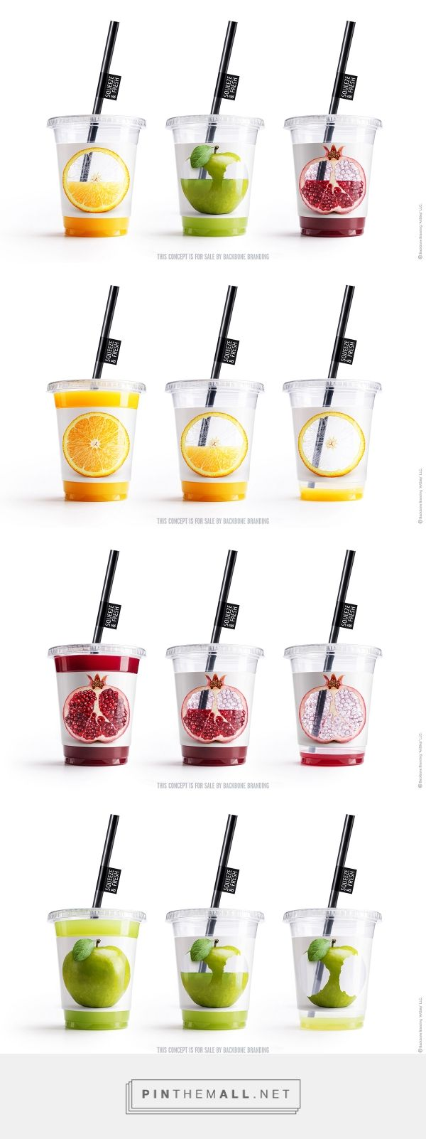 SW-similar to the pasta, this design users negative cut out sections to create a memorable image; the fruit  draining of juice as you drink is an image that sticks - Squeeze & Fresh by Backbone Branding