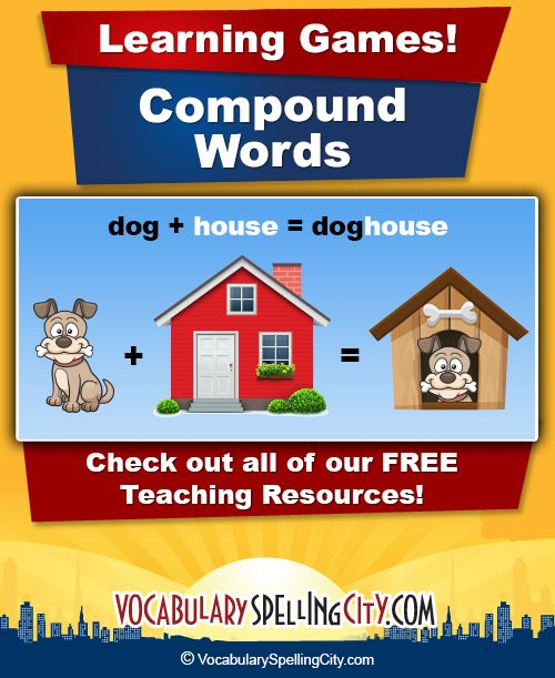 Compound Words - Free word lists and app learning games to study compound words....