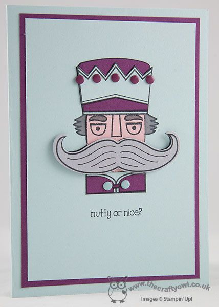 Nutty or Nice Nutcracker Christmas Card Santa Stache, Mustache Framelit, Joanne James, Stampin' Up! UK Independent Demonstrator, blog.thecraftyowl.co.uk