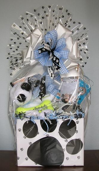 Raffle gift basket for Morris Animal Foundation.  I love using companies' logo colors!