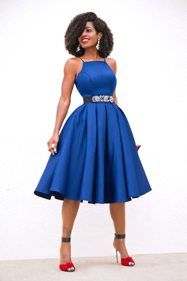 Style Pantry | Navy Fit & Flare Midi Dress