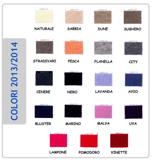 Ecco la Cartella Colori -..scegli il tuo colore e il capo in cashmere direttamente nel nostro e-shop : http://www.marinasalacashmere.it/index.php?id=20