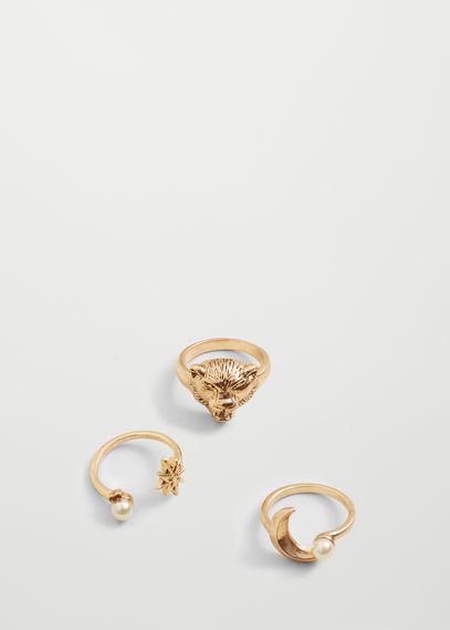Zestaw metalowych pierścionków