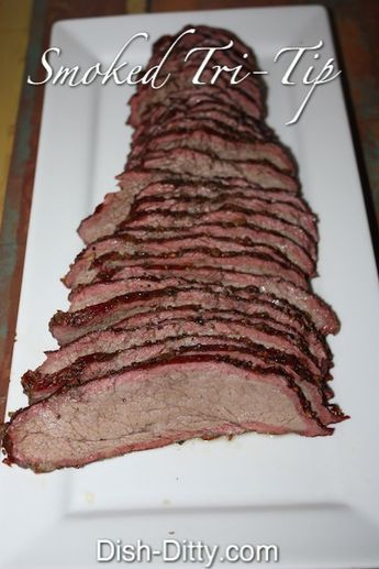 Directions Dry rub seasonings onto tri-tip. Preheat smoker to 180 degrees. Place tri-tip on smoker and smoke for 3 hours. Remove from smoker and rub garlic olive oil over entire roast. Wrap with tinfoil. Increase temperature to 225 and continue to cook for 1 more hour. Remove from smoker and let rest 10 minutes. Slice & Serve.