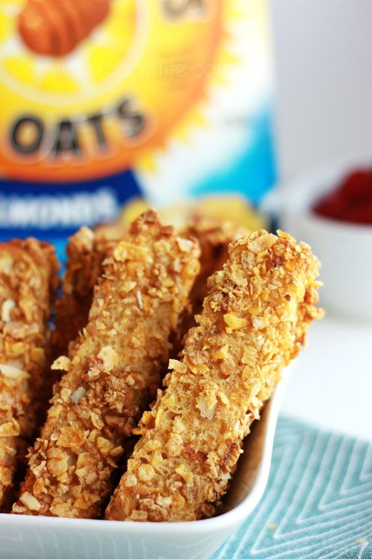 Cinnamon Crunch French Toast sticks with Honey Bunches of Oats. Baked, not fried, and freezer friendly!