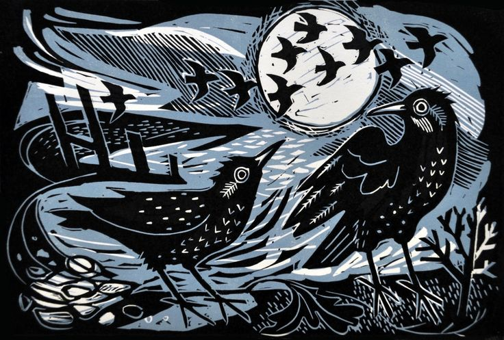 Starlings on the shore, Linocut, Mark Hearld (UK). Edition: 20, Size: 35x25cm