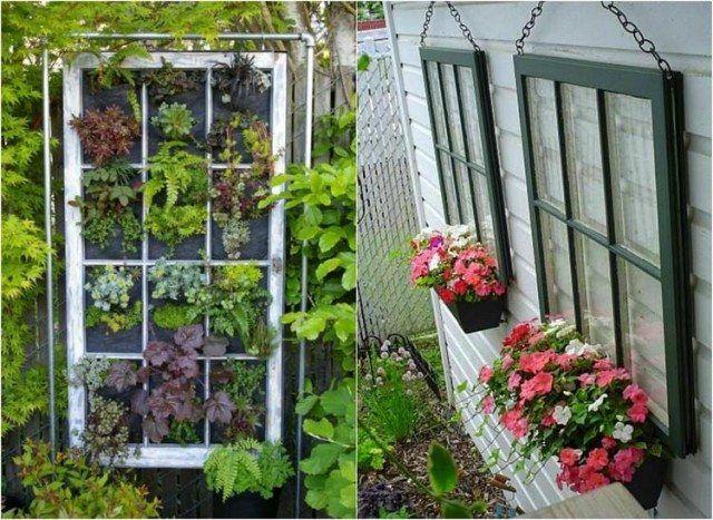 idées déco jardin DIY - des vieilles fenêtres transformées en jardin vertical/treillis pour bacs à fleurs