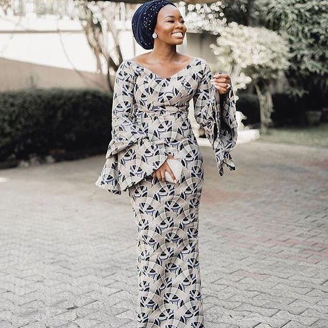 Long wide sleeves chitenge dress. Kanyget fashions+
