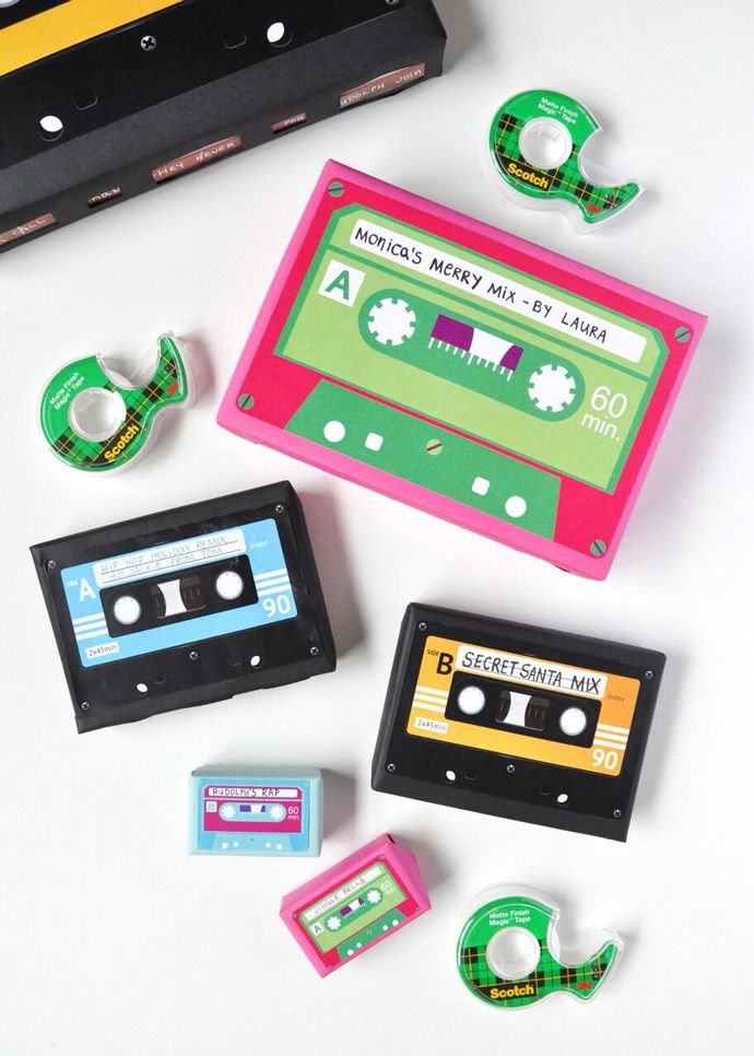 Wrap your gifts to look like retro cassette tapes with a secret message inside!